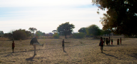 Soccer with children bushmen