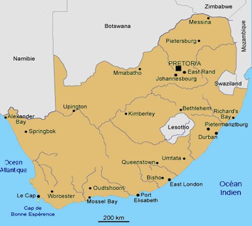 carte geographique de l'afrique du sud