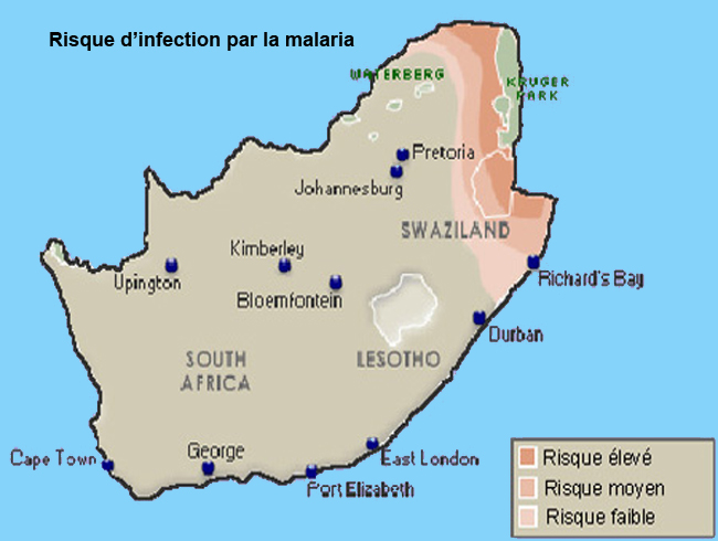 Map of malaria in the south africa