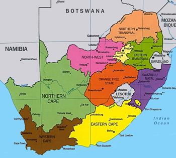 provinces of d'afrique sud