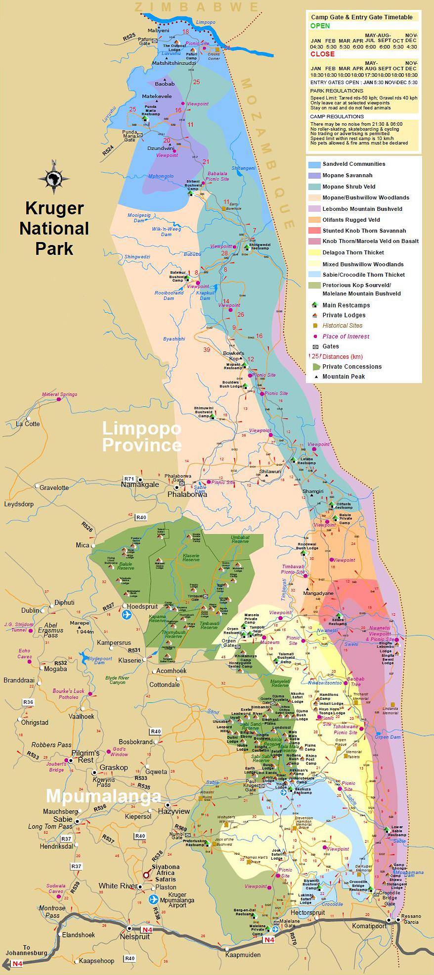 carte detaillée du Kruger