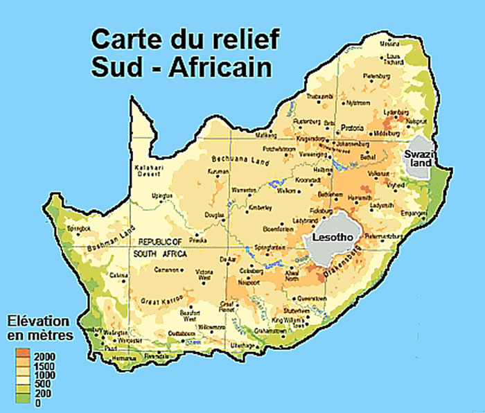 Carte du relief de l'afrique du sud