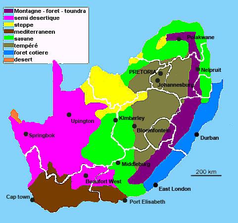 Carte climatique de l'afrique du sud
