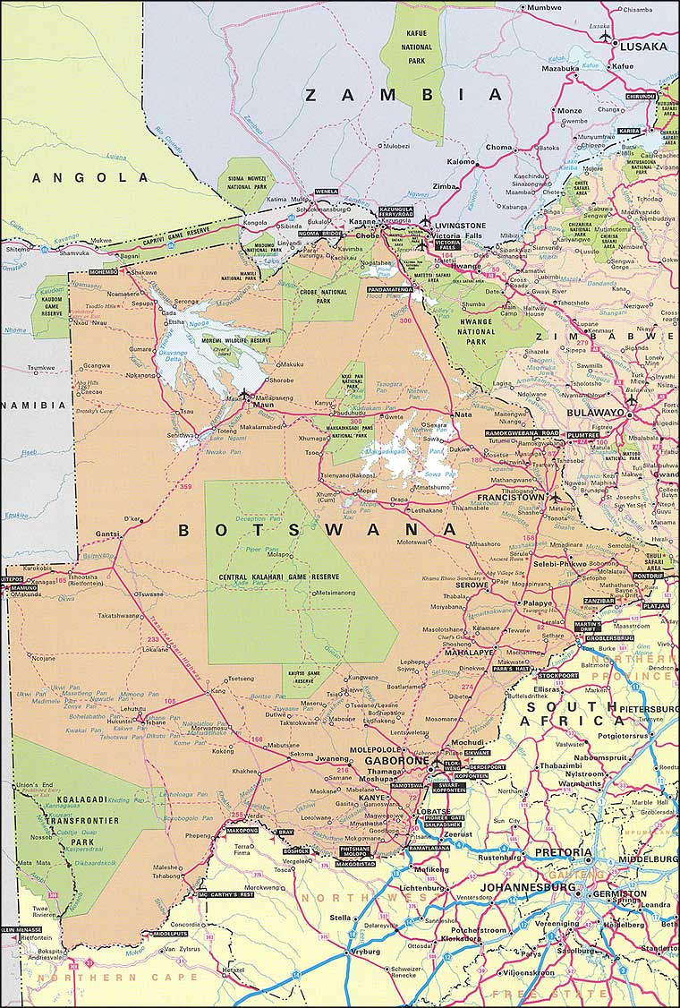 Botswana Road map and all maps of Botswana