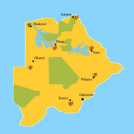 map accommodation Botswana