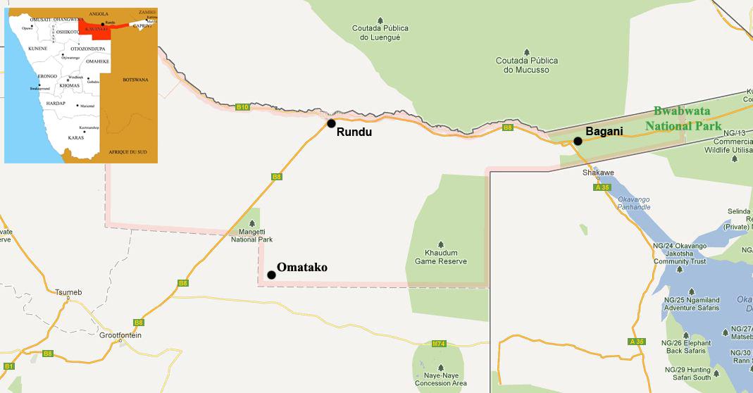 kavango map