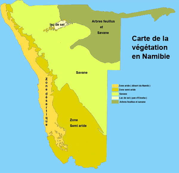 carte du climat en namibie