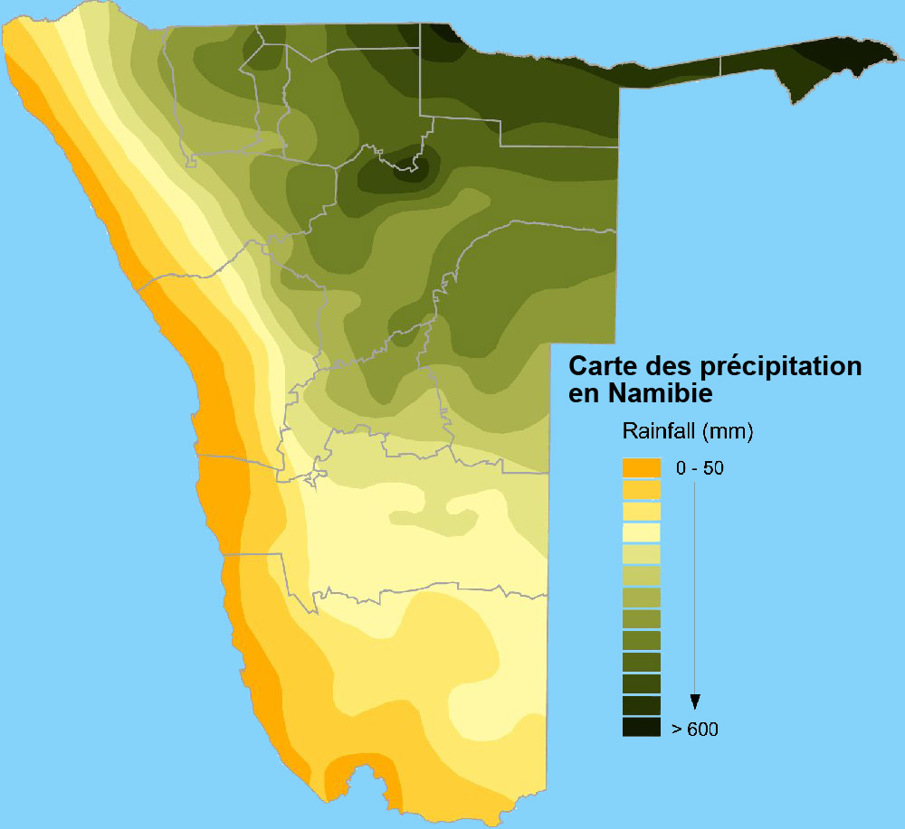 carte des moyennes des precipitation annuel en namibie