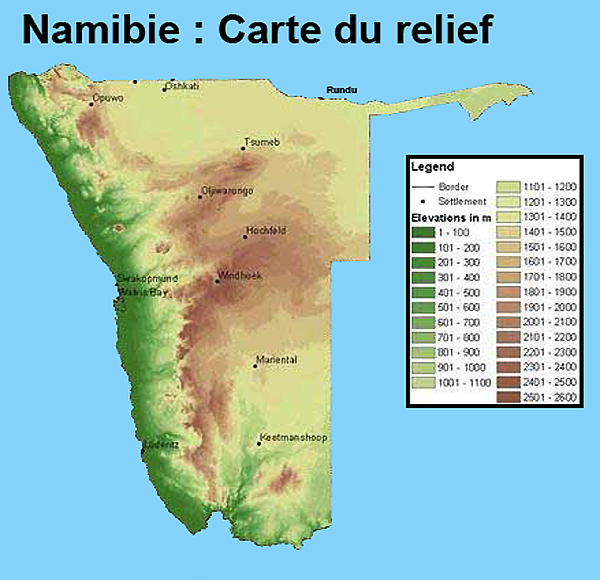 relief of namibia