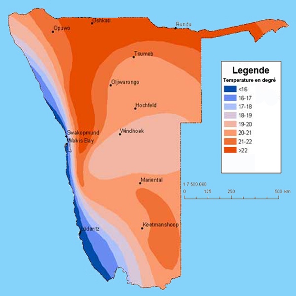carte des moyennes des temperature annuel en namibie