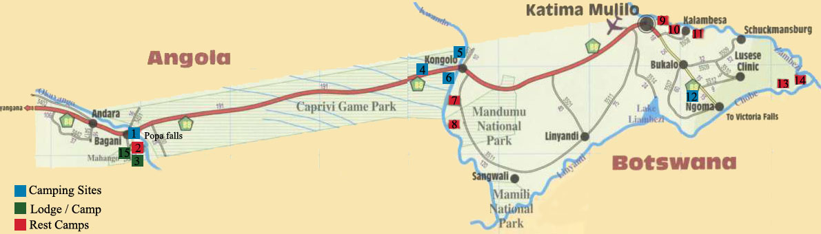 map of campsites in Caprivi namibie
