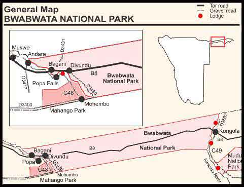 map bwabwata National Park