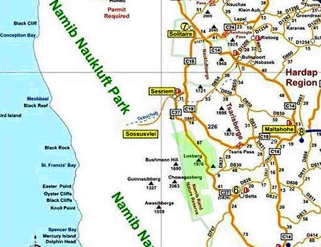 Map of campsites in Namibia Hardap