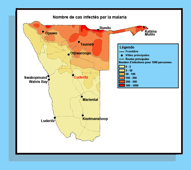 map of malaria in Namibia