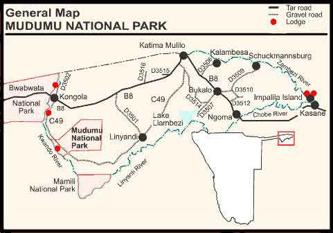 map Mudumu National Park