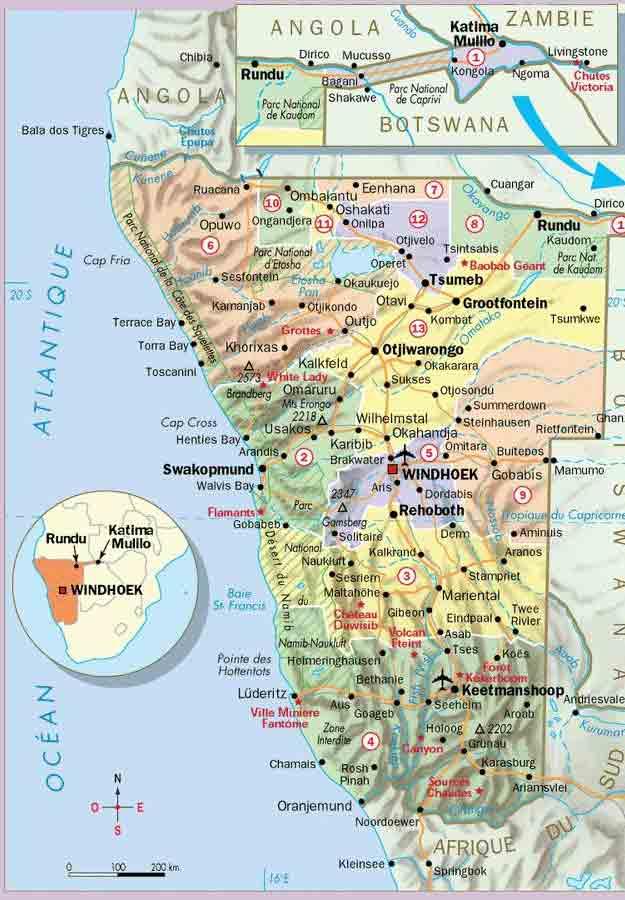 carte administrative namibie