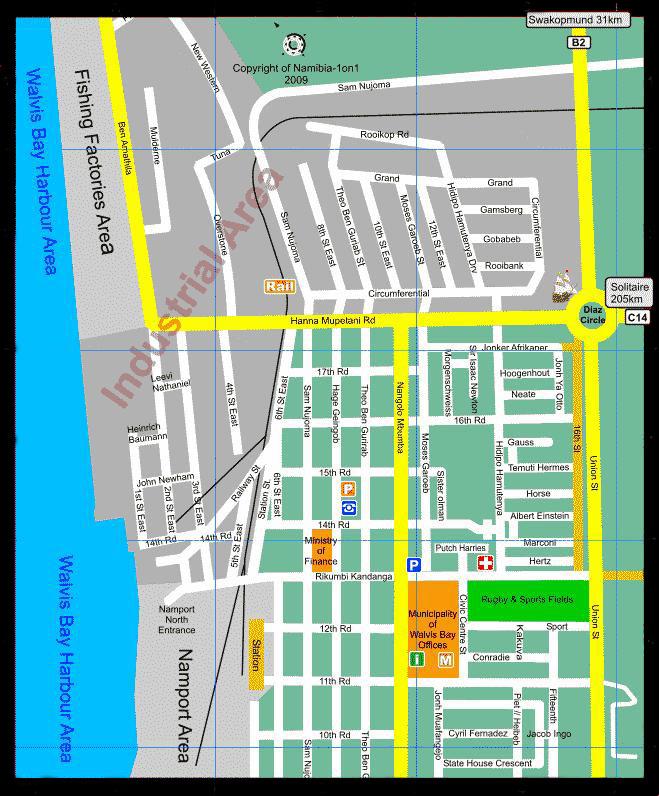 carte plan walvis bay