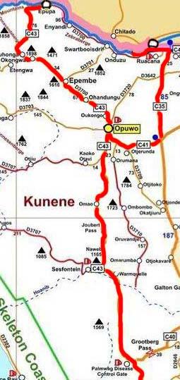 carte region kunene