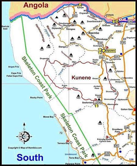 carte des campings du kunene en namibie