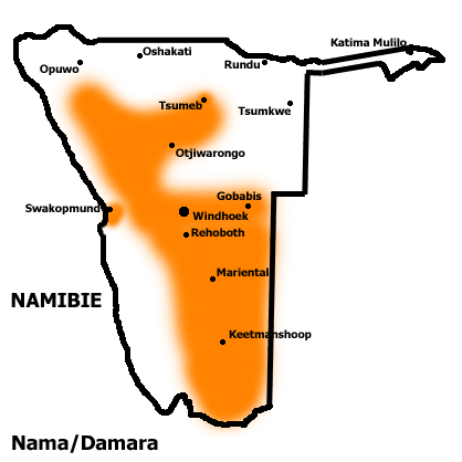 repartion des Damaras en namibie