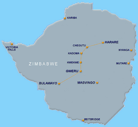 bus blue arrow to Zimbabwe