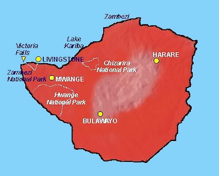 Carte de la malaria Zimbabwe