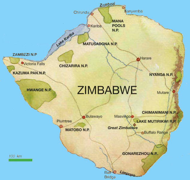 Road map Zimbabwe and other maps of zimbabwe